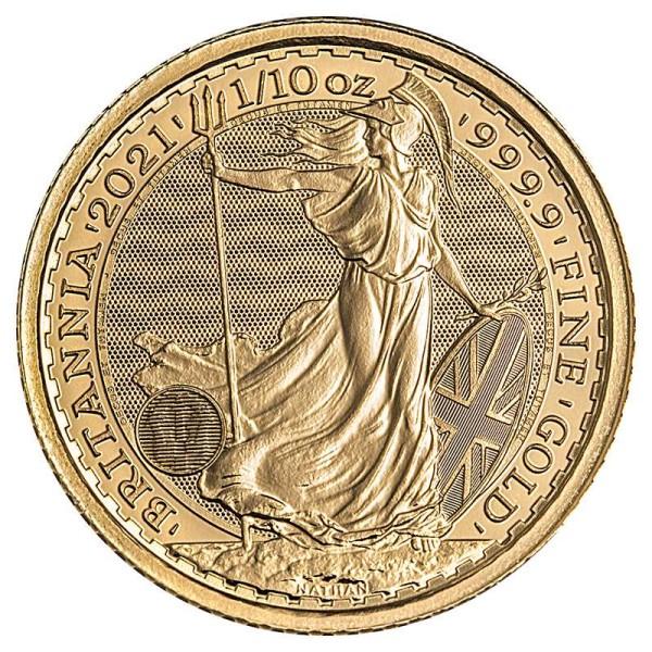 Goldmünze - Britannia 1/10 Unze - Großbritannien - Vorderseite