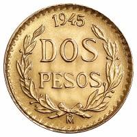 2 Pesos Goldmünze - Mexiko - Vorderseite