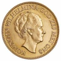 10 Gulden Goldmünze - Königin Wilhelmina - Niederlande - Vorderseite