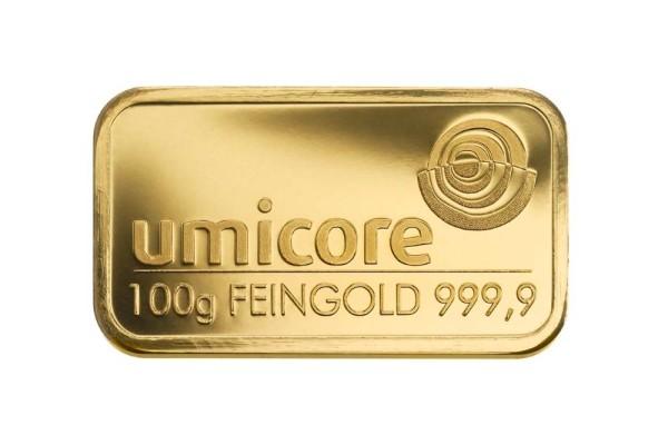 Goldbarren 100 Gramm Feingold | Beispielbild