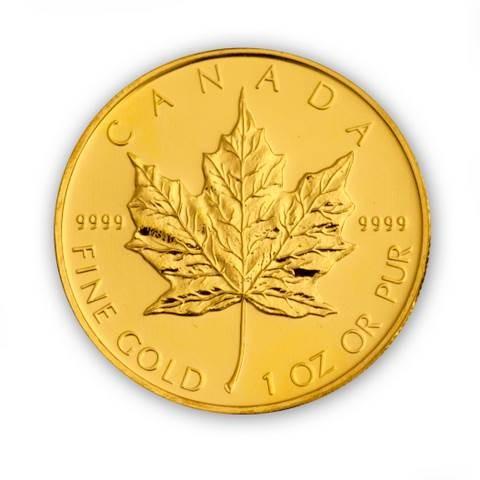 Goldmünze Maple Leaf Kanada 1 Unze Rückseite
