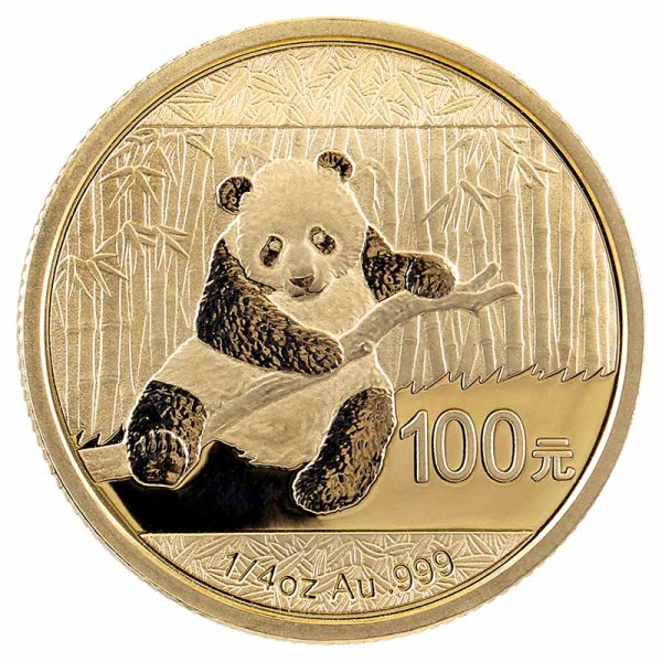 Panda 1/4 Unze Goldmünze - China - Vorderseite