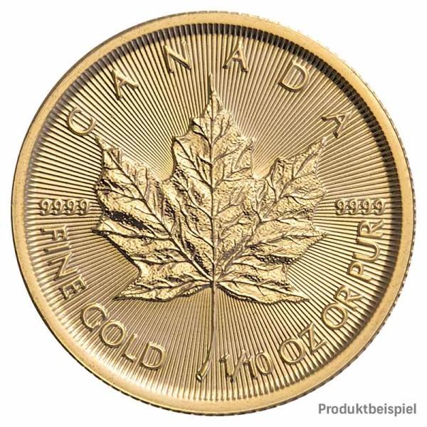 Maple Leaf Goldmünze Kanada 1/10 Unze Rückseite   Beispiel
