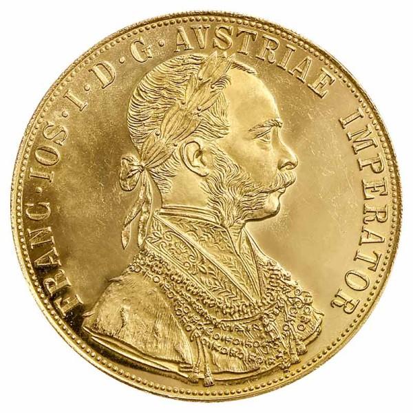 4 Dukaten Goldmünze - Franz Joseph I - Österreich - Vorderseite