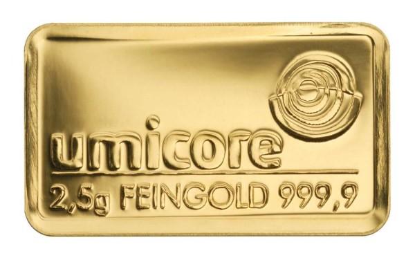 Goldbarren 2,5 Gramm Feingold
