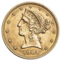 Goldmünze 5$ USA Liberty - Vorderseite