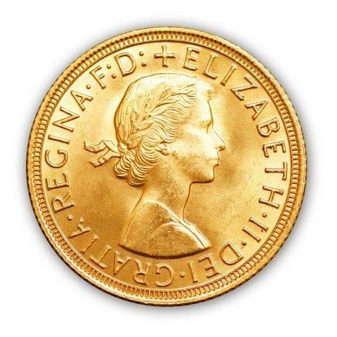 Goldmünze - 1 Sovereign - Großbritannien - Vorderseite   Beispielbild