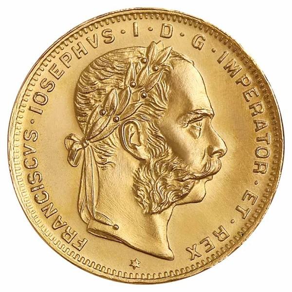 8 Florin Goldmünze - Franz Joseph I - Österreich - Vorderseite