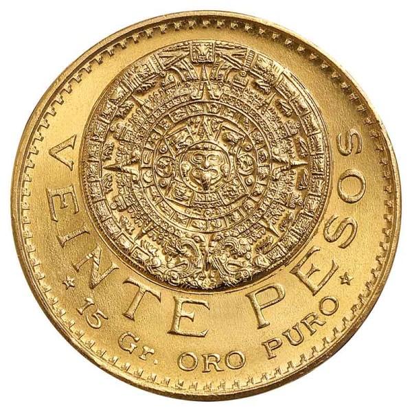 20 Pesos Goldmünze - Aztekenkalender - Mexiko - Vorderseite   Beispielbild