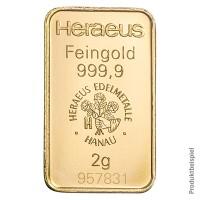Goldbarren 2 Gramm Feingold | Beispielbild