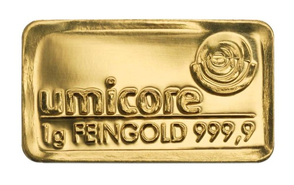 Goldbarren 1 Gramm Feingold | Beispielbild