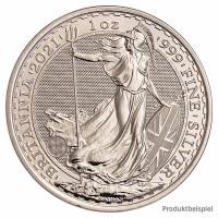 Silbermünze - Britannia 1 Unze - Großbritannien - Rückseite