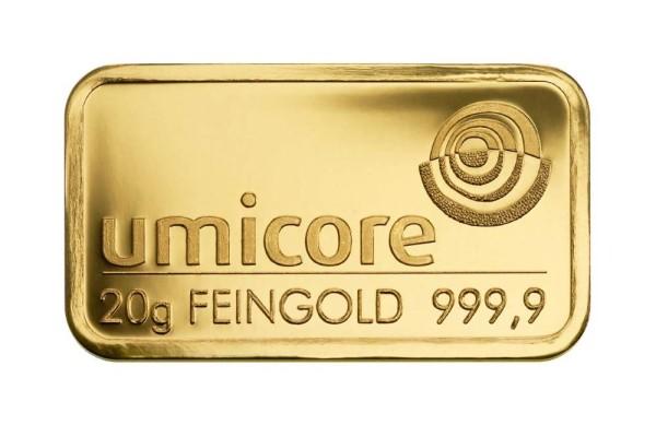 Goldbarren 20 Gramm Feingold | Beispielabbilung