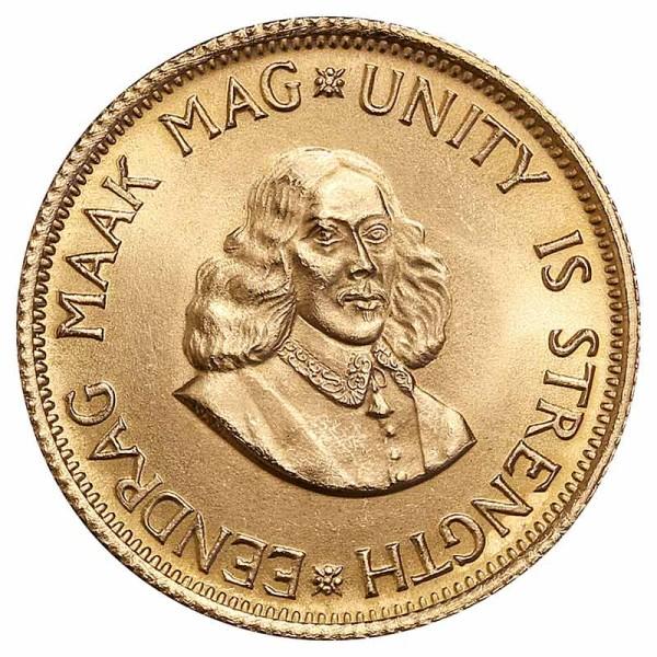 2 Rand Goldmünze - Südafrika - Vorderseite   Beispielbild