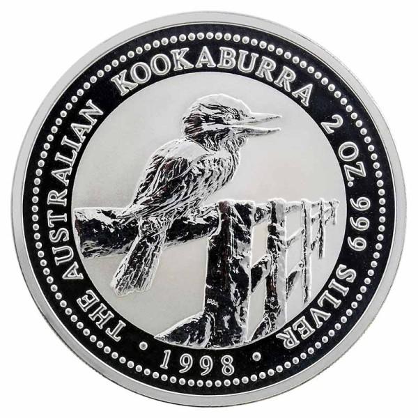 2 Unzen Kookaburra Silbermünze - Australien - Vorderseite