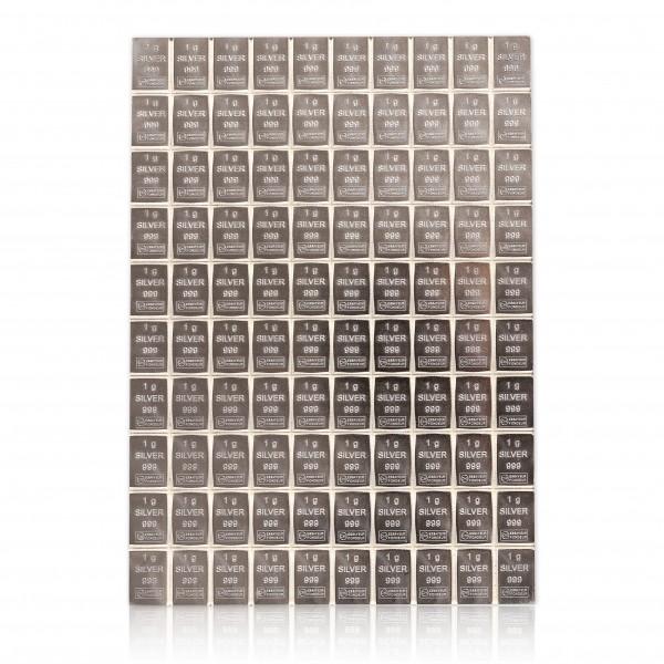 Tafelbarren Silber 100 x 1 Gramm Valcambi, ESG