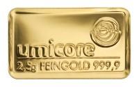 Goldbarren 2,5 Gramm Feingold | Beispielbild