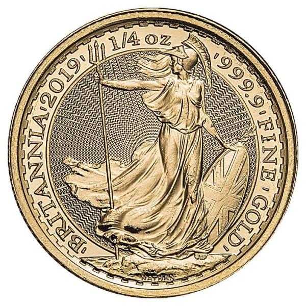 Goldmünze - Britannia 1/4 Unze - Großbritannien - Vorderseite