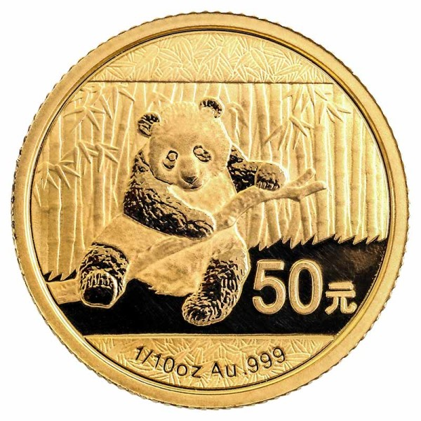 Panda 1/10 Unze Gold - China - Vorderseite